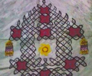 Rangoli: Ratha Saptami kolam in chikku pattern