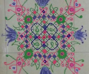 Rangoli: Chikku Kolam with 12-12 straight dots.