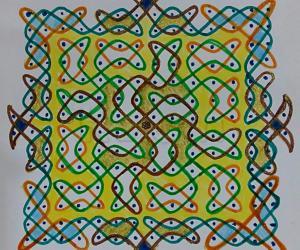 Chikku Kolam with 10-10 straight dots with Chikku border.