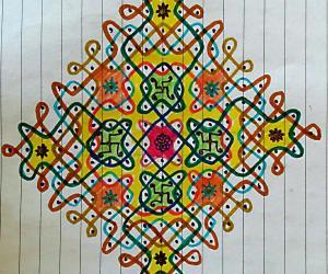 Rangoli: Chikku Kolam with 19-1 straight dots paper version of my previous  floor kolam