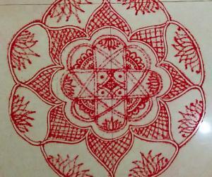 Rangoli: NAVARATHIRI Day 4 Padi Kolam Design in Red Colour