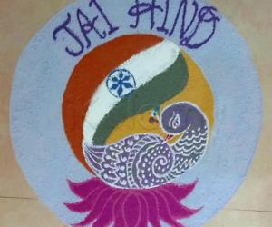 Rangoli: Republic Day Rangoli.  JAI HIND