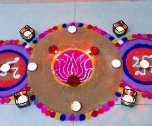 Diwali Special Rangoli 2018 / Swastik Rangoli with Lotus in the centre.