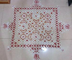 Chikku Kolam  with 19-19 Straight Dots -  Margazhi Kolam 2017-18