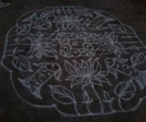 Rangoli: fish and lotus kolam