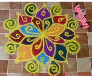Rangoli: DD colour kolam☺