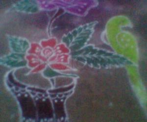 Rangoli: parrot and rose