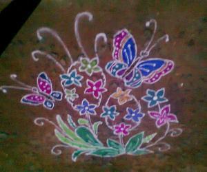 Rangoli: butterfly & flowers