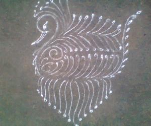 Rangoli: aadi tuesday peacock in lines