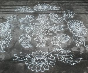 Melika muggu with lotus,birds..