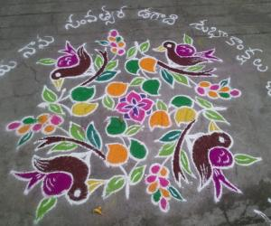 ugadi rangoli with 11-11 dots