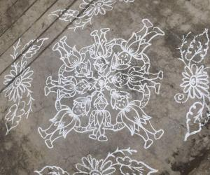 Rangoli: Floor version with chalk.......
