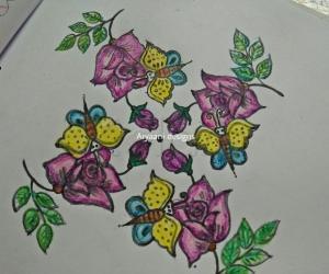 Rangoli: Roses and butterflies..