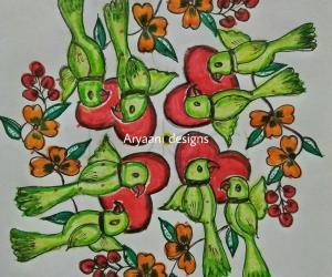 Rangoli: Lovely parrots..