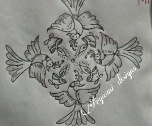 Rangoli: Simple birds rangoli....
