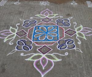 Rangoli: Lamp and lotus kolam