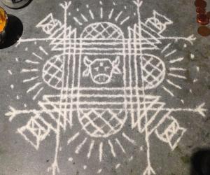 Simple Pongal Padi Kolam