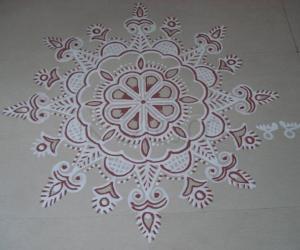 Rangoli: Free hand Design for Krishna Jayanthi