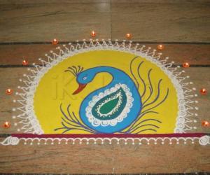 Rangoli: Peacock Diwali Rangoli-2