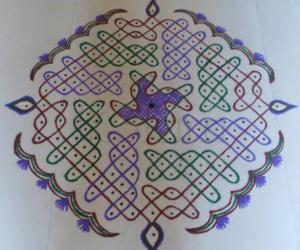 Dotted Kolam -colourful chikku design