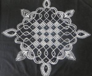 Chikku Kolam in Black and White