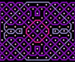 A rangOli with dots in seven rows and nine columns