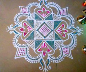 Navrathri- Pink/blue kolam for Navami and Dasami days.