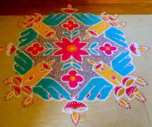 Rangoli: rangoli with lamps