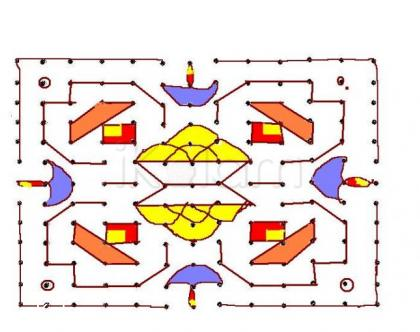 Rangoli:  laddu kolam --- 13 - 13 dots kolam