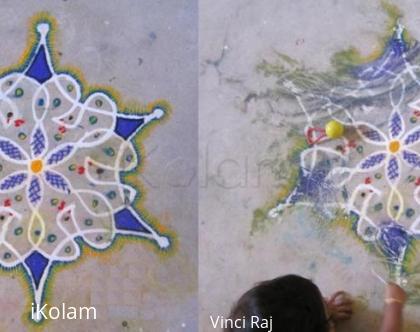 Rangoli: Peacock kolam - Before and After