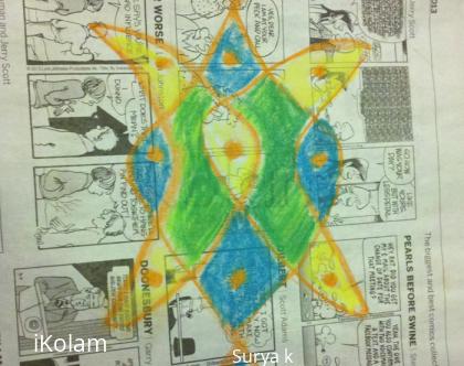 Rangoli: Chikku kolam on newspaper