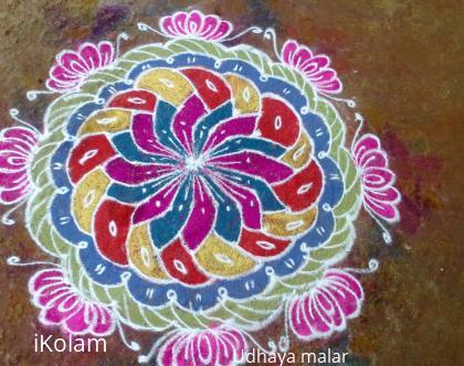 Rangoli: Free hand flower design