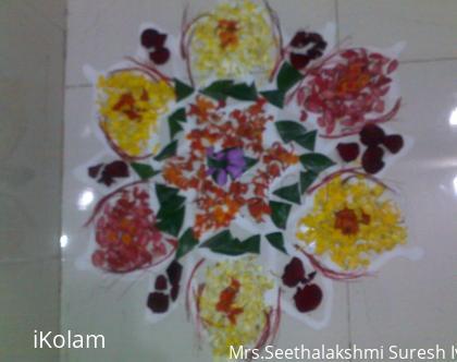 Rangoli: poo kolam drawn at the puja room