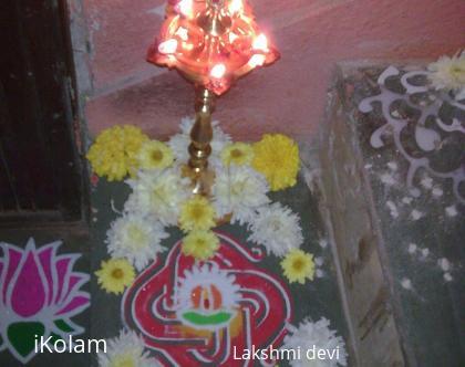 Rangoli: kuthu vilaku decor (lamp puja)