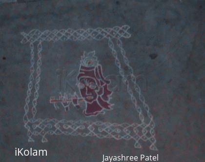 Rangoli: Krishna with flute