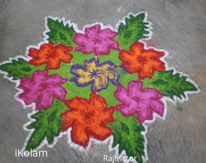 Rangoli: simple flower rangoli