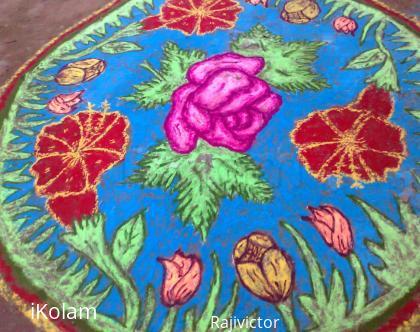Rangoli: rose and buds