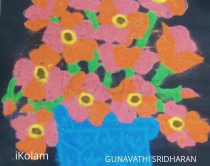 Rangoli: flower basket rangoli
