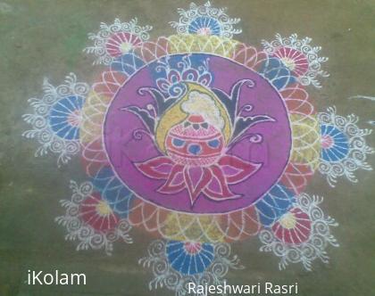 Rangoli: Pongal rangoli with beautiful design