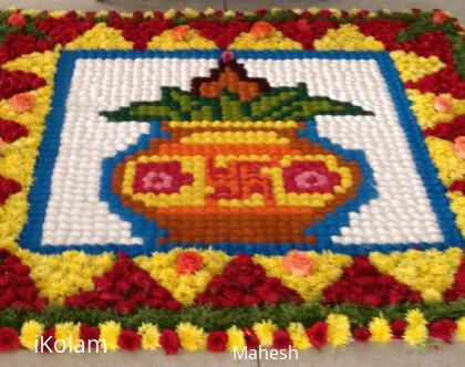 Rangoli: Devotional kolam mix of kumil, and flowers