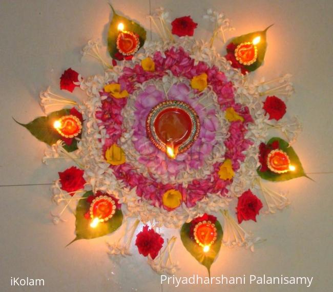 Rangoli: Flower rangoli for Karthigai