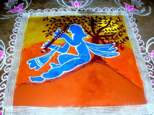 Rangoli: krishna jeyanthi kolam