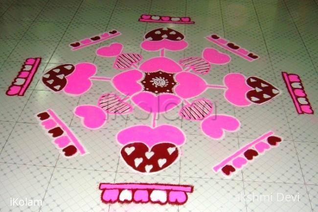 Rangoli: Valentine's day rangoli
