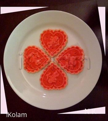 Rangoli: Valentine rangoli using cookies