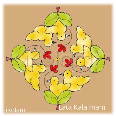 Rangoli: Birds nest : yellow rangoli