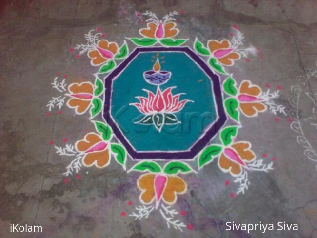 Rangoli: Lotus and butterfly design