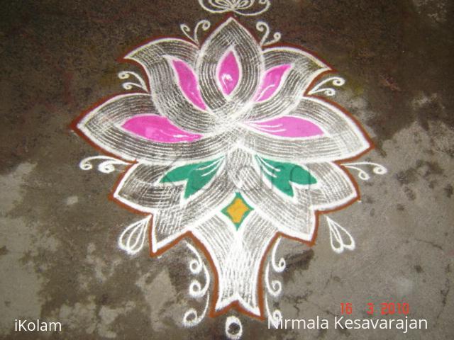 Rangoli: Lotus kolam.