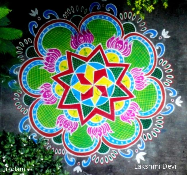 Rangoli: multi colored doily