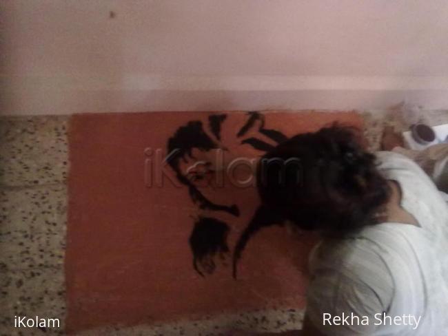 Rangoli:  step-wise progress of Radha -Krishna rangoli