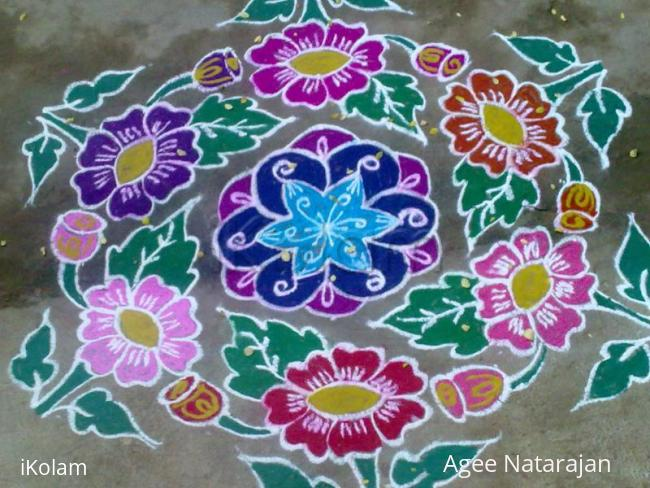 Rangoli: Beautiful flowers